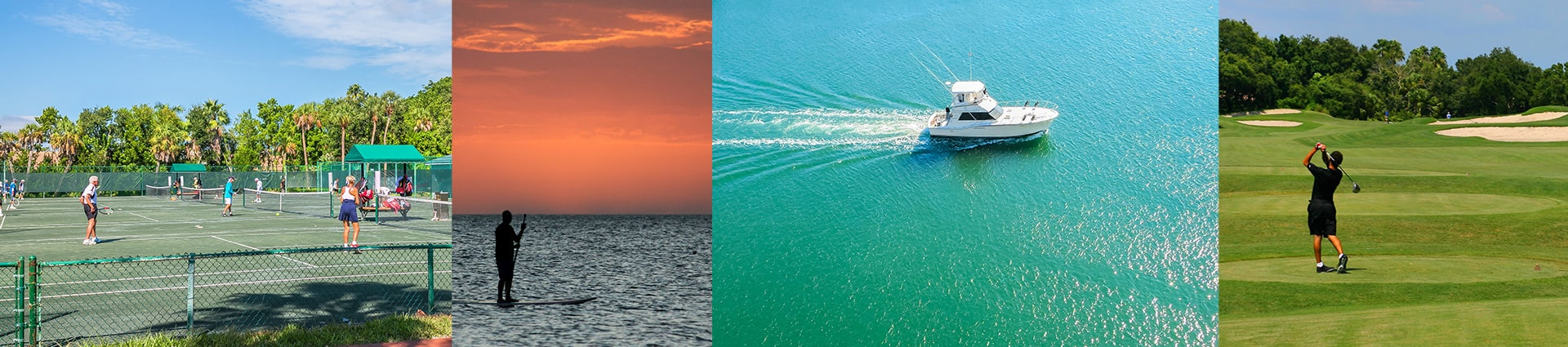 tennis, fishing, boating, golfing images all on longboat key